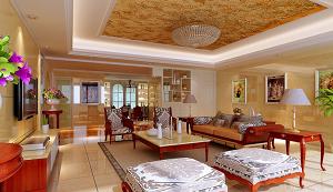 贝博官方欧式客厅吊顶装修效果图